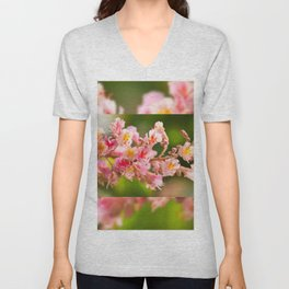 Aesculus red chestnut tree blossoms Unisex V-Neck