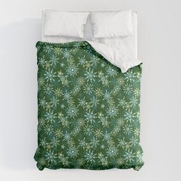 Festive Snowflakes in Green and Gold Comforters