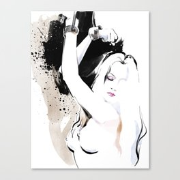 Beauty portrait, Woman slave handcuffs, Nude art, Black and white, Fashion painting Canvas Print