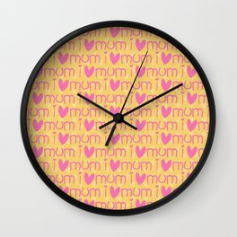 Pink yellow hand painted watercolor I love mum typography Wall Clock