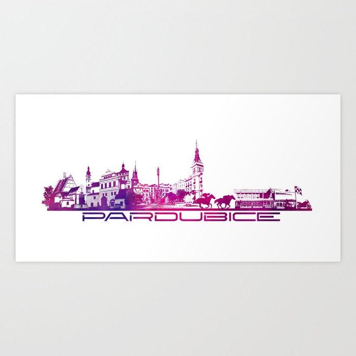 Pardubice skyline city purple Art Print