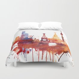 Moscow Watercolor Skyline Duvet Cover