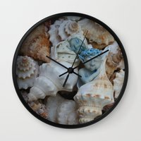 pixies Wall Clocks featuring Sea pixies by Tracey Burgun