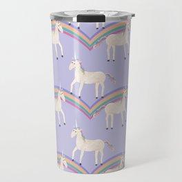 Unicorn Pattern on Pastel Purple Travel Mug
