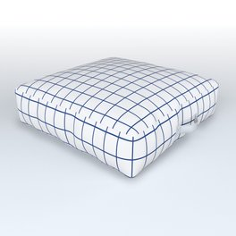 Navy Blue Grid - more colors Outdoor Floor Cushion