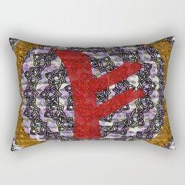 Rune Fehu Red Rectangular Pillow