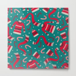 Retro Xmas Pattern Metal Print