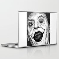 jack nicholson Laptop & iPad Skins featuring Jack Nicholson Joker Stippling Portrait by Joanna Albright