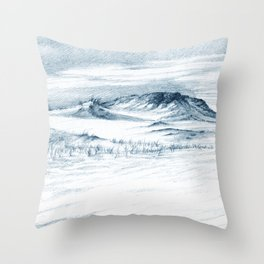Beach Sand Dunes Drawing Throw Pillow