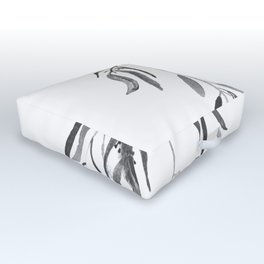 Eucalyptus Branches II Black And White Outdoor Floor Cushion