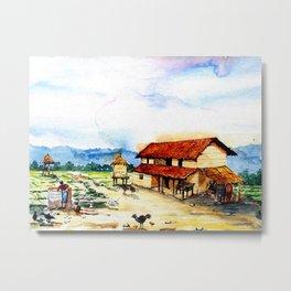 Rural Barn Watercolor Painting Metal Print