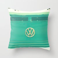vw Throw Pillows featuring Groovy VW by RDelean