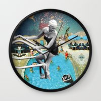 hippy Wall Clocks featuring Happy Hippy Hippo by Eugenia Loli