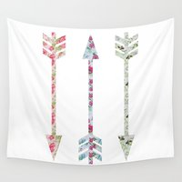 arrows Wall Tapestries featuring Arrows by bookwormboutique