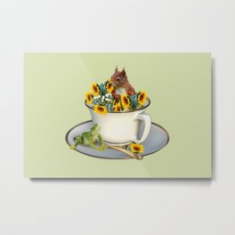 Coffee Cup with squirrel and frog and sunflowers Metal Print