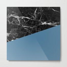 Black Marble and Niagara Color Metal Print