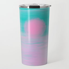 Abstract lavender teal pink watercolor sunset Travel Mug