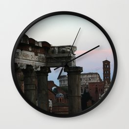 Roman Forum and Colosseum of Rome at Sunset Wall Clock