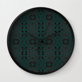 Japanese Lantern Pattern - Roman Brown & Black pattern on Firefly Green by artestreestudio Wall Clock