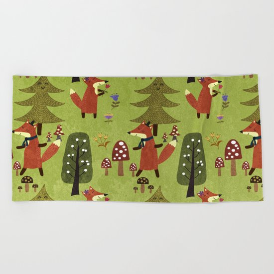 Happy foxes in the forest - Cute Fox Pattern Beach Towel