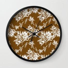 Brown Seaweed Pattern Wall Clock