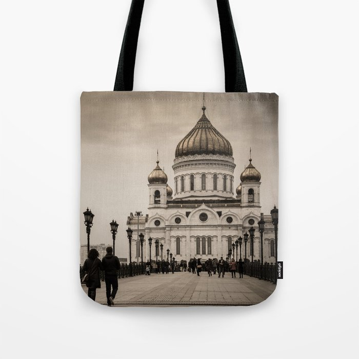 the Cathedral of Christ the Savior in Moscow in Sepia Tote Bag