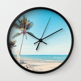 Surfboards on the Beach Wall Clock