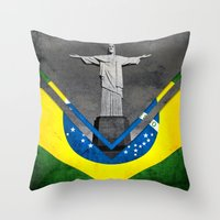brazil Throw Pillows featuring Flags - Brazil by Ale Ibanez