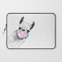 Bubble Gum Sneaky Llama Black and White Laptop Sleeve