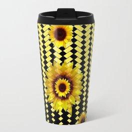 YELLOW SUNFLOWERS BLACK ABSTRACT PATTERNS ART Travel Mug
