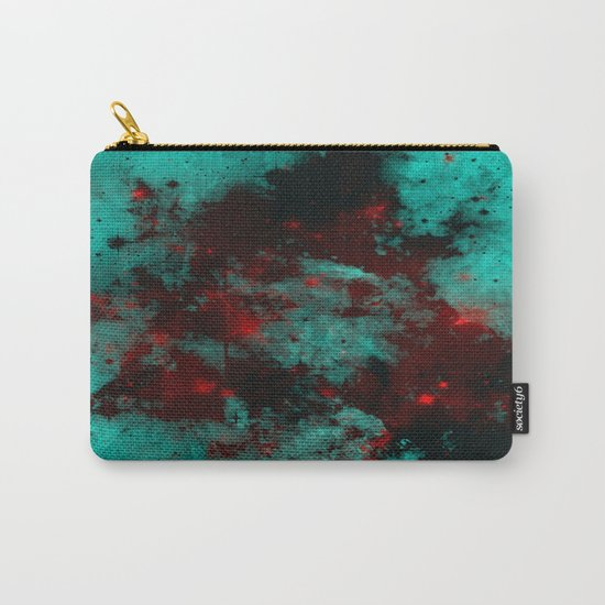Ruby Galaxy - Abstract cyan, red and black space themed painting Carry-All Pouch