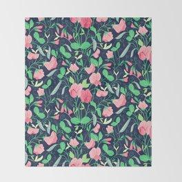 Pretty floral pattern. Sweet Pea. Throw Blanket
