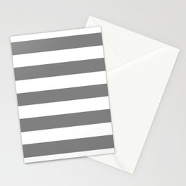 Gray (HTML/CSS gray) -  solid color - white stripes pattern Stationery Cards
