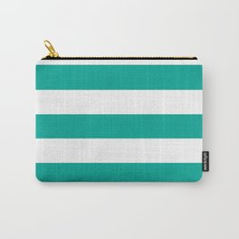 Persian green - solid color - white stripes pattern Carry-All Pouch