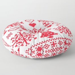 Christmas Cross Stitch Embroidery Sampler Red And White Floor Pillow