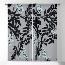 TREE BRANCHES BLACK AND GRAY WITH BLUE BERRIES Blackout Curtain