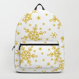 Christmas Holiday Gold Snowflakes Pattern Backpack
