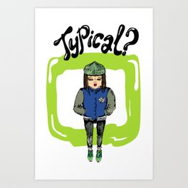 Illustration for t-shirt with girl in sneakers and college jacket Art Print