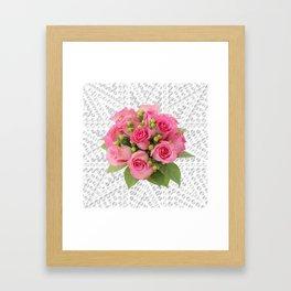 Pink Rose Silver Mandala Framed Art Print