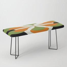 Mid-Century Modern Art 1.4 - Green & Orange Flower Bench