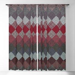 black white grey silver red geometric pattern Blackout Curtain