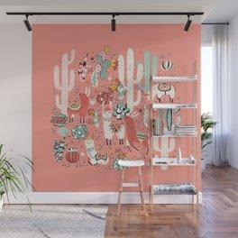 Lama in cactus jungles Wall Mural