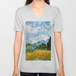 Vincent van Gogh Wheat Field with Cypresses Unisex V-Neck