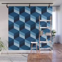 Geometric 3D Classic Blue optical cubes Wall Mural