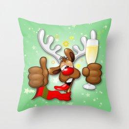 Reindeer Drunk Funny Christmas Character Throw Pillow
