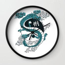 Japanese Dragon, Yin-Yang, Water Waves Wall Clock
