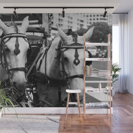 Two horses in the city Wall Mural