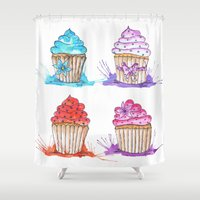 cupcakes Shower Curtains featuring Cupcakes  by Olive Coleman