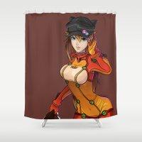 evangelion Shower Curtains featuring Asuka by Esteban Barrientos