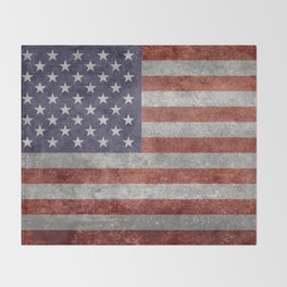 Flag of the United States of America - Vintage Retro Distressed Textured version Throw Blanket